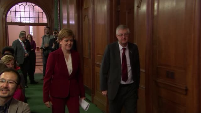 'brexit limbo' in westminster as eu leaders appear to back brexit delay; england: london: church house: int nicola sturgeon msp and mark drakeford am... - member of the scottish parliament stock videos & royalty-free footage