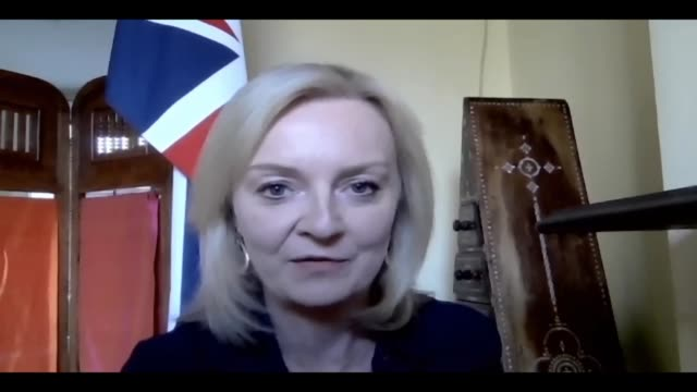 liz truss interview england int liz truss mp interview via internet sot on postbrexit trade deals with australia and new zealand / what we want is a... - war and conflict stock-videos und b-roll-filmmaterial