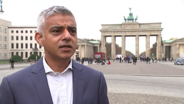 london mayor sadiq khan visits berlin uk / germany sadiq khan at brandenburg gate and holocaust memorial / sadiq khan interviews / lance foreman... - {{ contactusnotification.cta }} stock videos & royalty-free footage