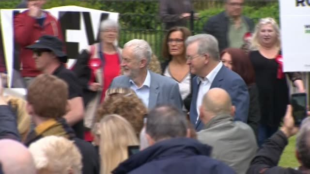 matt hancock warns theresa may's successor must not call election until britain has left eu england merseyside bootle ext jeremy corbyn mp along... - jeremy corbyn stock videos and b-roll footage