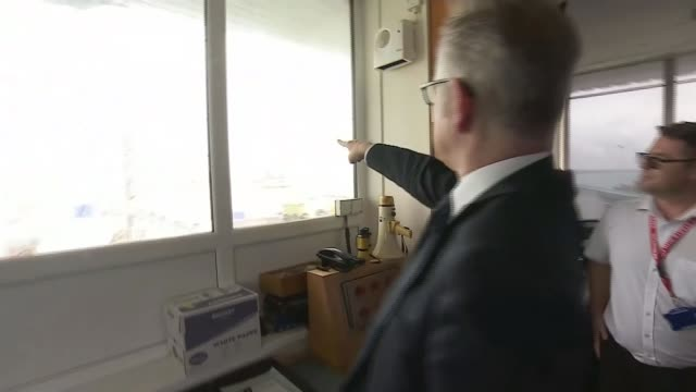 Michael Gove announces further preparations for No Deal WALES Anglesey Holyhead INT Michael Gove MP along looking out windows