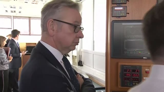 Michael Gove announces further preparations for No Deal WALES Anglesey Holyhead Michael Gove looking at screens in port