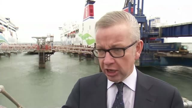 Michael Gove announces further preparations for No Deal WALES Anglesey Holyhead EXT General view Irish Ferries ferry boat in port Michael Gove MP...
