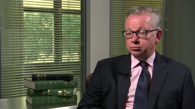 michael gove interview england london int michael gove mp interview sot re brexit negotiations - michael gove stock-videos und b-roll-filmmaterial