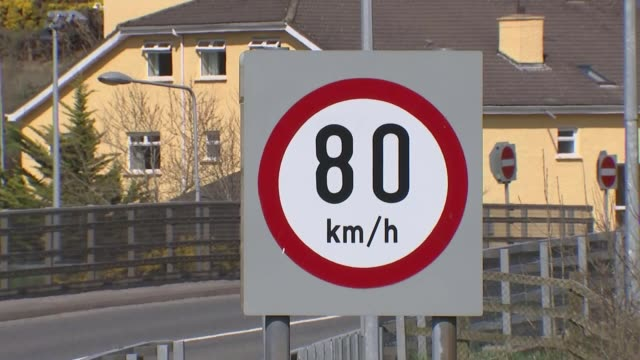 Michel Barnier says UK must soften red lines on the Irish border NORTHERN Lorry along by Irish border Traffic along by road sign Speed limit sign...