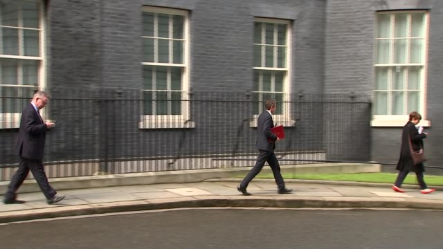 ministers split over future customs arrangement postbrexit downing street ext gavin williamson mp leaving number 10 followed by michael gove mp - downing street stock videos and b-roll footage