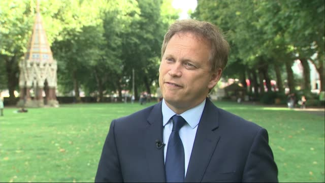 mixed reaction to jeremy corbyn plan for temporary government to stop no deal england london westminster ext grant shapps mp interview sot - jeremy corbyn stock videos and b-roll footage