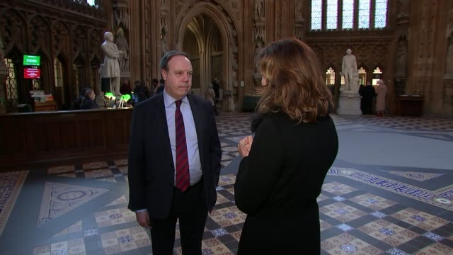mps prepare to vote on amendments to theresa may's brexit plan england london westminster house of commons lobby int nigel dodds mp set up shot with... - lobby stock videos & royalty-free footage