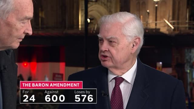 stockvideo's en b-roll-footage met mps prepare to vote on eu withdrawal agreement england london westminster itn reporters chatting sot lord lamont and lord mandelson live interview sot - peter mandelson