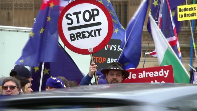 mps prepare to vote on eu withdrawal agreement; uk, london, westminster, houses of parliament; protesters gathered outside parliament with flags and... - rebellion stock videos & royalty-free footage