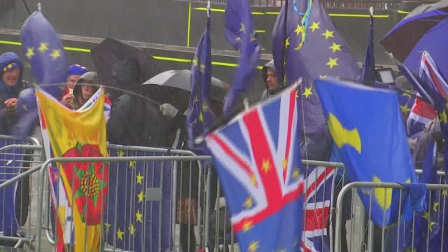 MPs prepare to vote on Theresa May's Brexit deal UK London Westminster Brexit protesters brave Storm Gareth ENGLAND London Westminster EU Union Jack...
