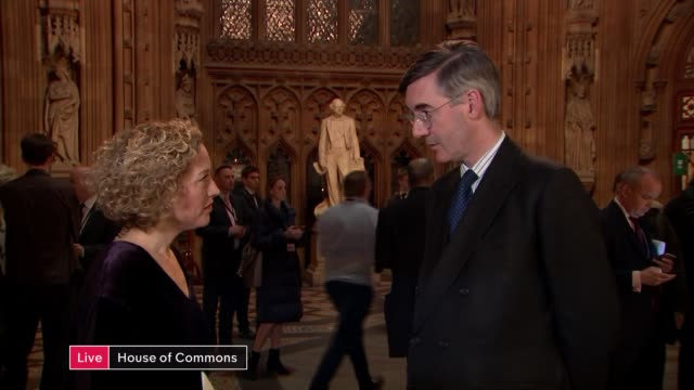 vídeos y material grabado en eventos de stock de mps vote against government no deal motion; england: london: westminster: int jacob rees-mogg mp live interview sot. - channel 4 news