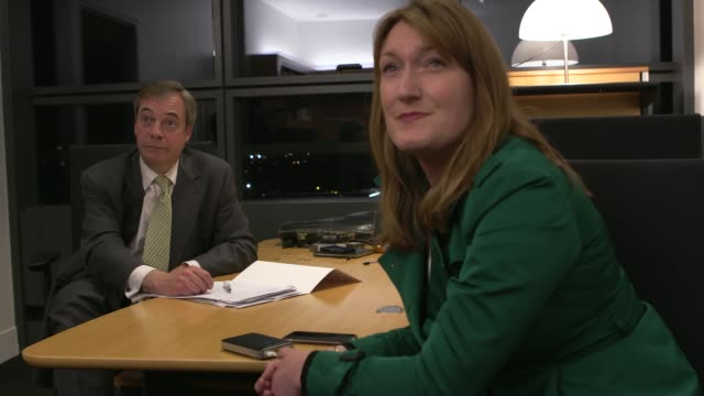 mps vote down withdrawal agreement nigel farage watching vote and interview ** house of commons audio heard over following ** france strasbourg... - mep stock-videos und b-roll-filmmaterial