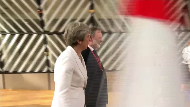 european leaders react to theresa may's eu nationals pledge belgium brussels europa building int various shots theresa may mp and tim barrow uk... - european union stock videos and b-roll footage