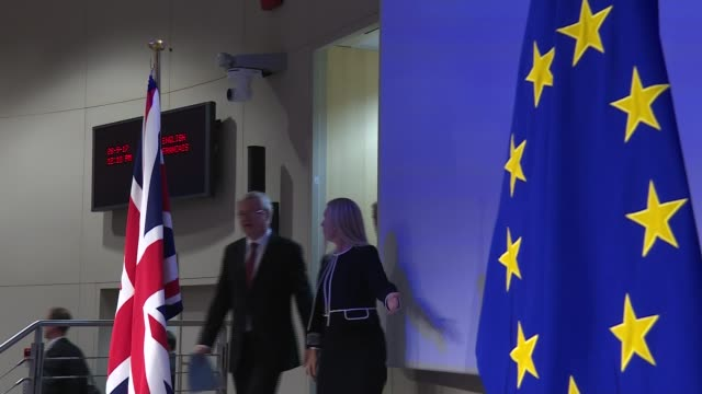 Negotiations have made progress but not enough on key issues / Verhofstadt speech / Carney speech INT David Davis MP and Michel Barnier to podiums...