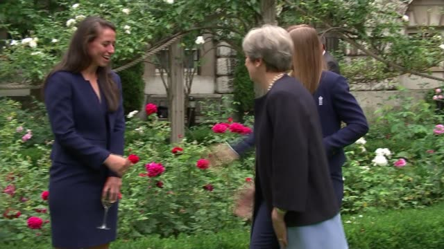 jeanclaude juncker criticises uk proposals england london downing street ext various shots theresa may mp in downing street garden along greeting... - cricket team stock videos and b-roll footage