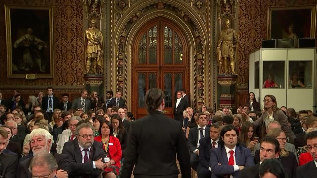 Negotiations over 'Brexit bill' continue ENGLAND London Westminster Westminster Palace Guests seated Theresa May MP seated with Jeremy Corbyn MP...