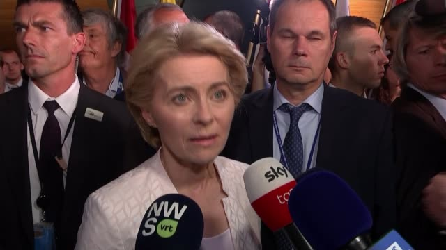 new president of the european commission open to further delay france strasbourg ursula von der leyen speaking to reporters following her election as... - mep stock-videos und b-roll-filmmaterial