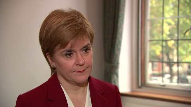nicola sturgeon interview; england: london: westminster: int nicola sturgeon msp interview sot. - on possible general election / the snp wants an... - misfortune stock videos & royalty-free footage