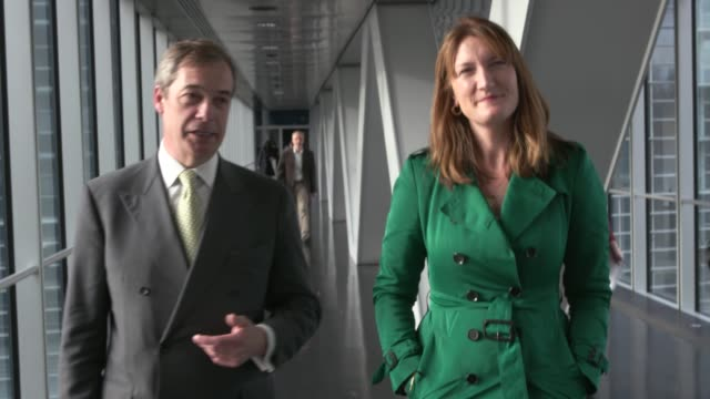 nigel farage interview during walkabout in european parliament france strasbourg louise weiss building / european parliament further shots of nigel... - parliament building stock videos & royalty-free footage
