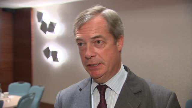 nigel farage interview england county durham sedgefield racecourse int nigel farage mep interview sot re proposed general election pact with tories - mep stock-videos und b-roll-filmmaterial