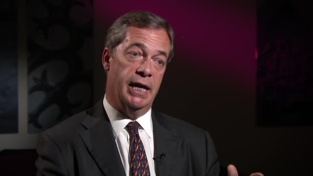 Nigel Farage interview ENGLAND London INT Nigel Farage MEP interview SOT