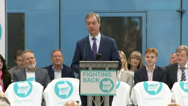 Nigel Farage launches Brexit Party to fight European elections UK West Midlands Coventry Nigel Farage MEP speech at launch of Brexit Party Annunziata...