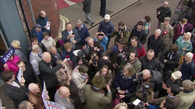 nigel farage 'leave means leave' walkabout in christchurch; england: bournmeouth: christchurch: ext nigel farage mep from 'stop the brexit bretrayal'... - mep stock videos & royalty-free footage