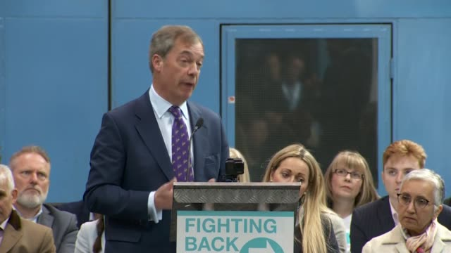 nigel farage question and answer session at the brexit party launch; england: west midlands: coventry: int nigel farage mep question and answer... - nigel farage stock videos & royalty-free footage