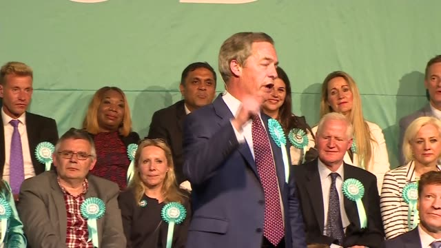 nigel farage speaks at brexit party rally and addresses recent party funding headlines england london hammersmith photography** nigel farage mep... - finishing stock videos & royalty-free footage