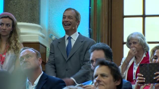 nigel farage speech on general election strategy; england: london: westminster: emmanuel centre: int nigel farage mep watching video at event... - mep stock videos & royalty-free footage