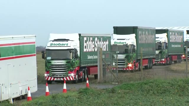 lorries arriving and departing manston airport england kent ramsgate manston airport ext lorries leaving airport in convoy - ramsgate stock videos & royalty-free footage