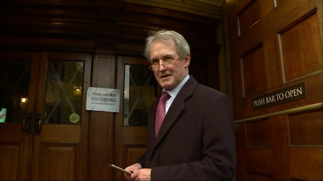 northern irish politicians visit downing street amid uncertainty over border and divorce bill owen paterson mp interview sot - オーウェン・パターソン点の映像素材/bロール