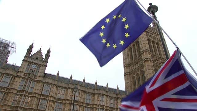 Northern Irish politicians visit Downing Street amid uncertainty over border and divorce bill Westminster Low angle shot EU flag held up by protester...