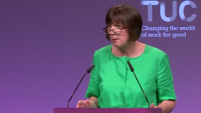 o'grady warns of threat to workers rights england east sussex brighton int frances o'grady speech sot - east sussex stock videos & royalty-free footage