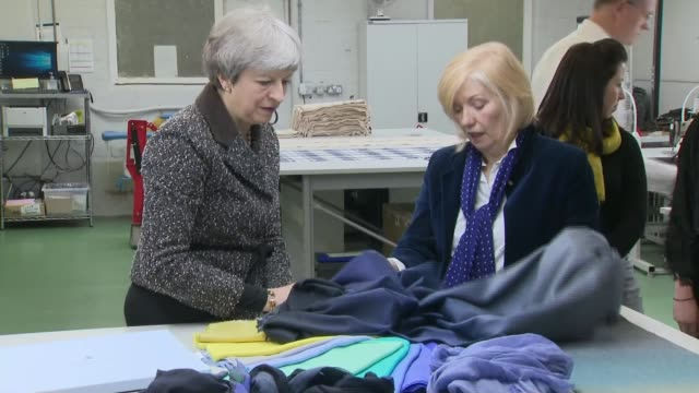 one year to go: theresa may tours the uk; scotland: ayrshire: int various of theresa may mp being shown around cashmere scarf factory theresa may mp... - member of the scottish parliament stock videos & royalty-free footage