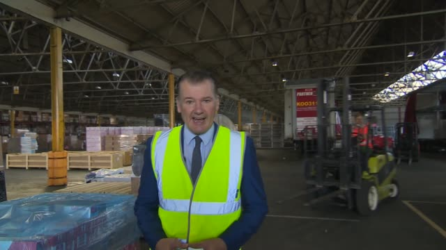 Operation Yellowhammer Projected delays and shortages of food and medicines ENGLAND Kent Rochester INT Man along on forklift in warehouse Reporter to...