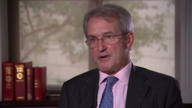 owen paterson interview england london westminster int owen paterson mp interview sot - オーウェン・パターソン点の映像素材/bロール