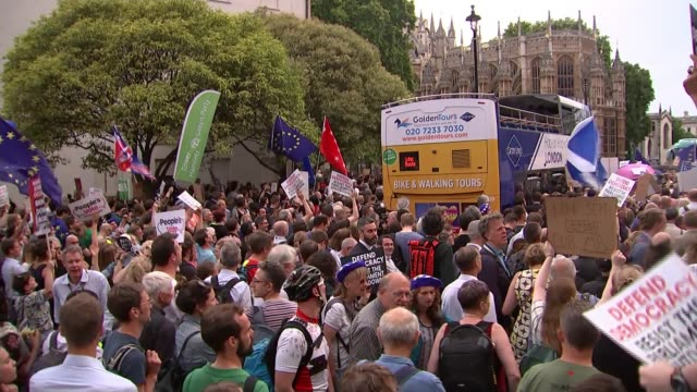 parliament to be prorogued for just over a month ahead of brexit deadline england london westminster ext various of protesters outside the houses of... - parliament stock videos & royalty-free footage