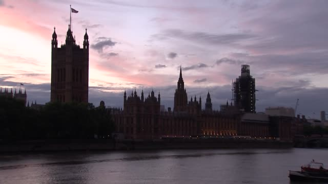 parliamentary prorogation gvs houses of parliament at sunset england london westminster ext / dusk wide shot of houses of parliament and big ben... - parliament stock videos & royalty-free footage