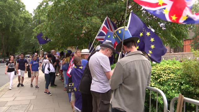 parliamentary prorogation westminster protests england london westminster ext eu flag blowing outside victoria tower houses of parliament /... - victoria tower stock-videos und b-roll-filmmaterial