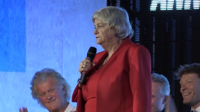 brexit party leader nigel farage and mep ann widdecombe criticise boris johnson's brexit deal at a brexit party rally. they call for a 'clean break'... - brexit party stock videos & royalty-free footage