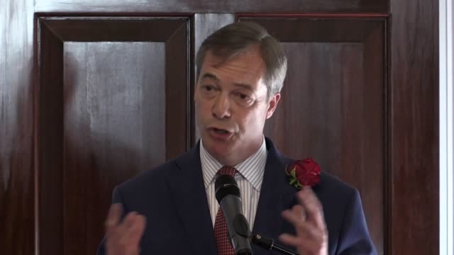brexit party leader nigel farage introduces the new candidates at carlton house in london he says brexit is not about left or right it's about right... - nigel farage stock-videos und b-roll-filmmaterial