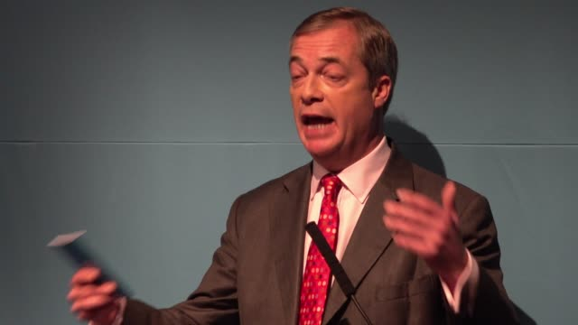 brexit party leader nigel farage launches their general election policy contract answering questions from the press farage directed the blame of... - emigration and immigration stock videos & royalty-free footage