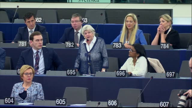 stockvideo's en b-roll-footage met brexit party mep anne widdecombe gets into a heated argument with dutch mep sophie in 't veld after the latter had claimed a majority of british... - parliament building