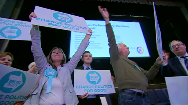 brexit party supporters singing bye bye eu after success in the european elections - celebration stock videos & royalty-free footage