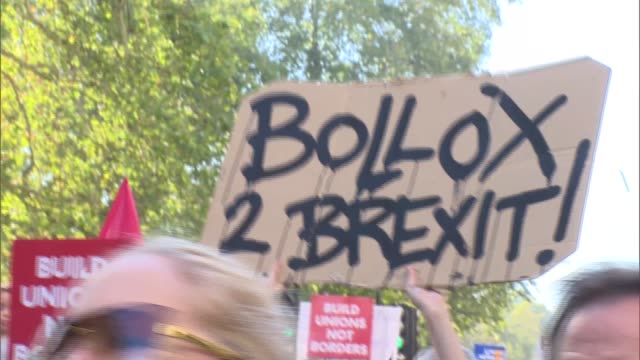 People's Vote march started by Sadiq Khan / Protest GVs ENGLAND London EXT Various marchers along Piccadilly with placards signs and banners and...