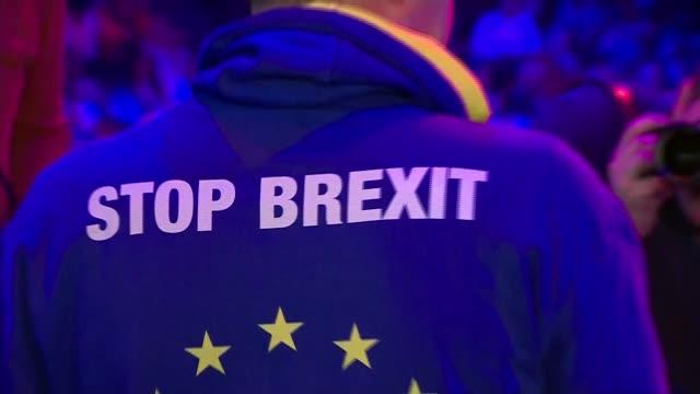 people's vote rally cutaways england london excel centre people's vote rally including antibrexit placards people's vote slogans man dressed as santa... - sweatshirt stock videos & royalty-free footage