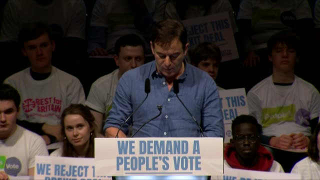 people's vote rally england london excel centre int jason isaacs speech sot - jason isaacs stock videos & royalty-free footage