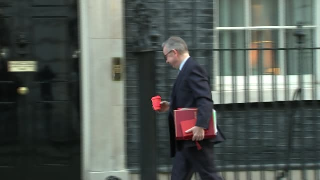 pm under pressure to publish leaked brexit report downing street ext michael gove mp along to number 10 holding coffee cup boris johnson mp along to... - liam fox politician stock videos and b-roll footage